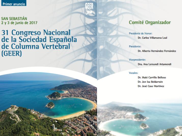 Primer anuncio del Congreso de 2017 en San Sebastián de la Sociedad Española de Columna Vertebral - GEER