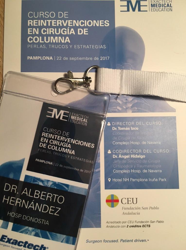El Dr. Alberto Hernández participó como ponente en el curso de Reintervenciones de Columna.