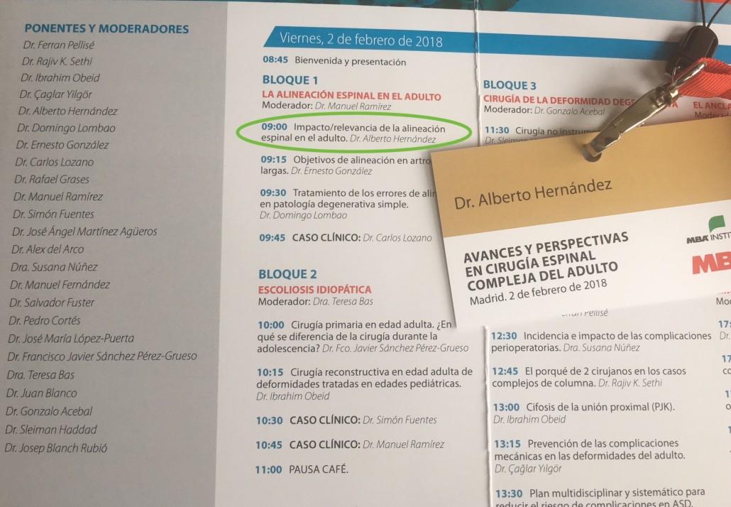Programa de la jornada, en la que ha participado el Dr. Alberto Hernández como ponente.